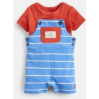 Whitby Blue Stripe 204677 Jersey Chambray Mix Shortie Dungaree  Size 12M-18M