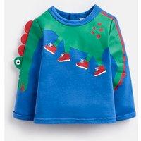 Blue Dino Arm Boo Applique Sweater