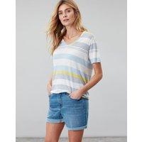 Blue Grey Lemon Stripe Lola V Neck T Shirt  Size 12
