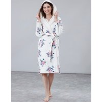 Cream Floral Ida Jersey Fleece Lined Dressing Gown  Size S-M
