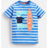 BLUE STRIPE CROCODILE Ben SCREENPRINT T-SHIRT 1-6yr  Size 1yr