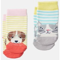 Cream Cat Dog Neat Feet Two Pack Character Socks  Size 12M-24M