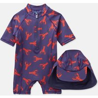 Dark Blue Lobster Sun Printed Swim Suit Set  Size 6M-9M