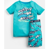 GREEN SKELETON SHARK Rowley Short Pyjama Set 1-12 Yr  Size 7yr-8yr