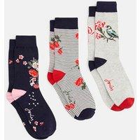 NAVY FLORAL Brilliant bamboo 3pk Socks  Size Adult 4-8