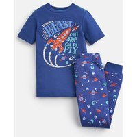 Blue Blast Off Raoul Short Sleeve Pj Set 1-12 Yr  Size 11Yr-12Yr