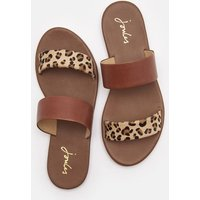 Tan Leopard Black Fenthorpe Two Strap Leather Sandals  Size Adult Size 5