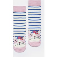 Blue Stripe Cat Neat Feet Character Socks  Size Size 13-3