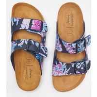 Dark Blue Floral Penley Printed Slider Sandal  Size Adult Size 4