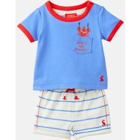 Cream Multi Stripe 204679 Short Sleeve Top And Shorts Set  Size 12M-18M