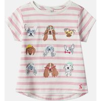 Pink Stripe Dog Astra Applique T-Shirt 1-12 Years  Size 7Yr-8Yr