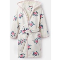 Cream Stripe Floral Idlewhile Fleece Lined Dressing Gown  Size S