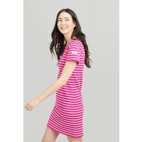 PINK CREAM STRIPE Riviera Dress With Short Sleeves  Size 12
