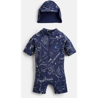 Navy Treasure Map Sun Printed Swim Suit Set  Size 18M-24M