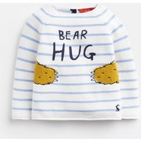 BLUE STRIPE BEAR HUG Barney KNITTED JUMPER  Size 9m-12m