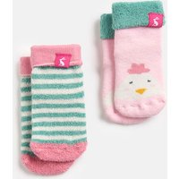 Multi Chick Stripe Terry 2 Pack Socks  Size 2Yr-3Yr