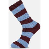 Claret & Blue Striped Socks