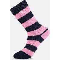 Pink & Navy Striped Socks