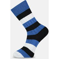 Navy  Black & White Striped Socks