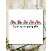 Personalised Toot Toot Tractor Greeting Card