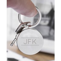 Personalised Initial Solid Circle Disc Keyring