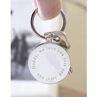 Personalised Message Solid Circle Disc Keyring