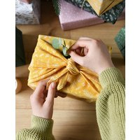 Reusable Botanical And Forest Fabric Gift Wrap Set