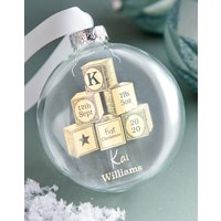 Personalised First Christmas Building Blocks Foiled Bauble