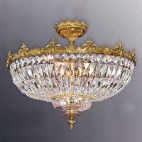 Lámpara de techo Stephanie con cristales, latón
