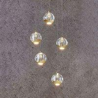 Lámpara colgante LED Hayley 5 luces redonda dorado