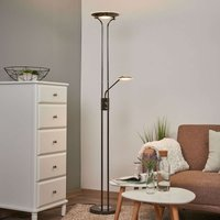 Lámpara LED de pie Aras en cromo negro