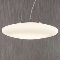 Lámpara colgante LED vidrio opalino Gunda blanca