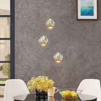 Lámpara colgante LED Hayley cristal 3 luces dorado