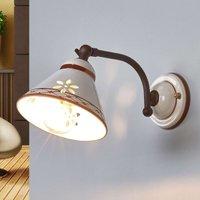Keramieken wandlamp Annabell met beweegbare spot
