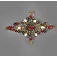 Met rozen versierde plafondlamp Ancona, 115 cm l