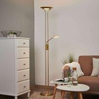 Messingkleurige LED vloerlamp Aras met leeslamp