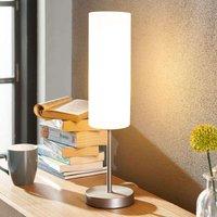 Smalle tafellamp Vinsta met witte glazen kap