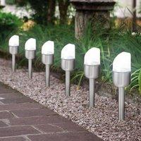 Moderne LED-Solar-Erdspießleuchte Toni im 6er-Set