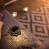 Solarbetriebene LED-Tischleuchte Jar aus Glas
