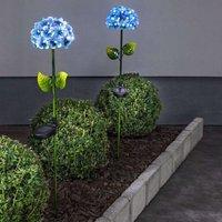 Solarleuchte Hotensia in Form einer Blume, blau