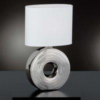 Tischlampe Eye mit silbernem Keramikfuß, 38 cm