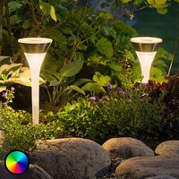 LED-Solarlampe Assisi, 2er Pack, Leuchte flach