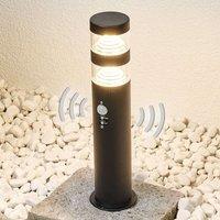 LED-Sockellampe Lanea aus Edelstahl mit Sensor