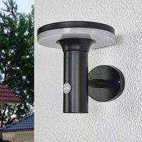 Schwarze LED-Solarwandleuchte Eliano, Sensor