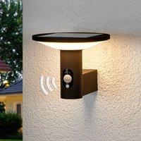 Runde LED-Außenwandleuchte Jersy mit Solarpanel