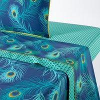 Shakhra Peacock Print Cotton Percale Flat Sheet