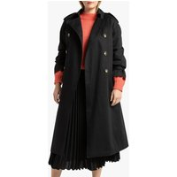 Long Cotton Duster Trench Coat with Double-Breasted Buttons