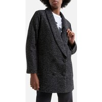 Wool Mix Long Coat with Button Fastening