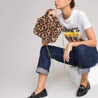 Faux Fur Handbag in Leopard Print