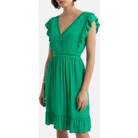 V-Neck Mini Dress with Short Ruffled Sleeves